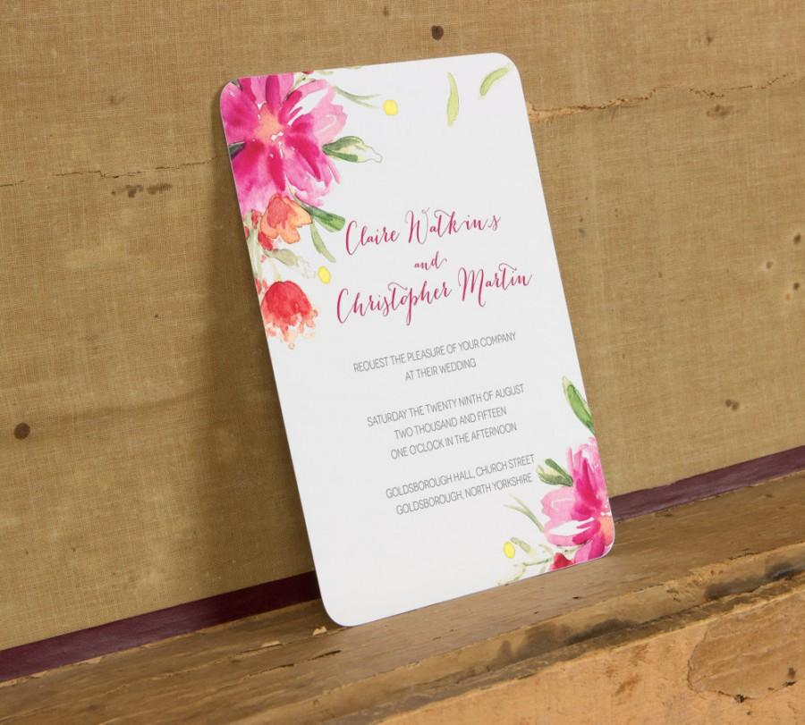 Modern Bright Floral Wedding Invitation Template,Modern Pink Floral ...