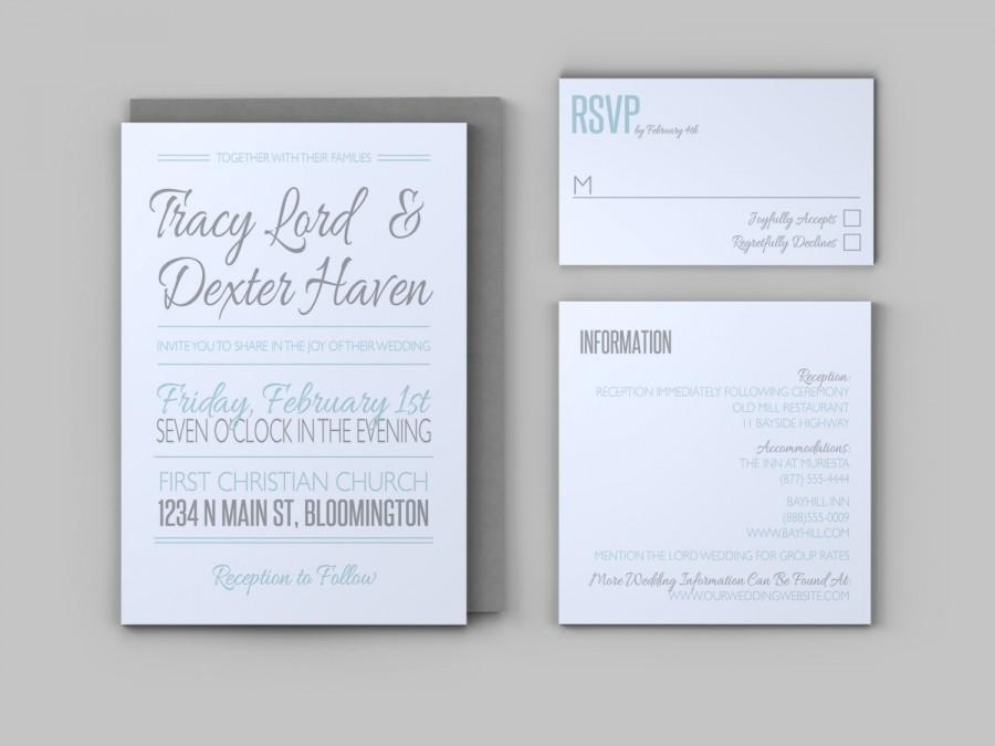 Casual Wedding Invitation Set   Invitation, Response Card, And Enclosure  Card   Custom Printable PDF