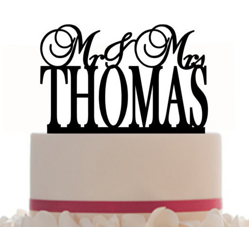 Wedding - Custom Wedding Cake Topper Monogram Mr and Mrs Topper Designed With Your Last Name, choice of color and a FREE base for display CX10MR1