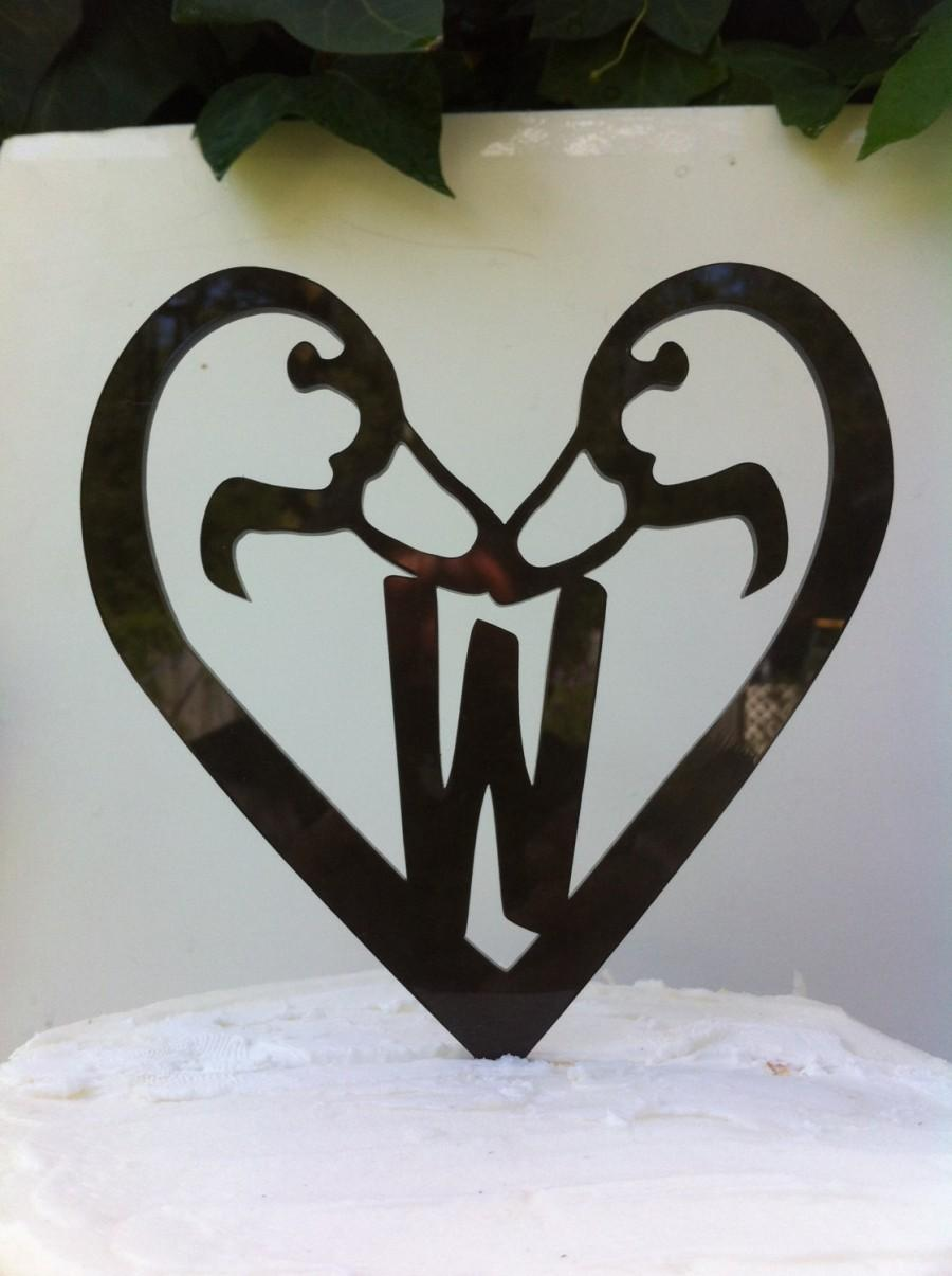 Свадьба - Acrylic, Heart, Rustic, Country, Surname, Last Name, Initial Duck Customized Personal Wedding Cake Topper