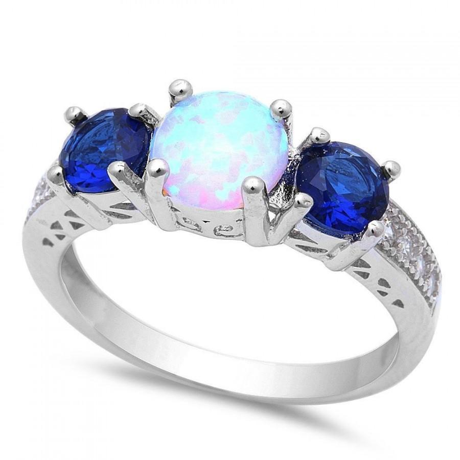 white silver blue products and round opal simulated cz sterling sapphire created ring