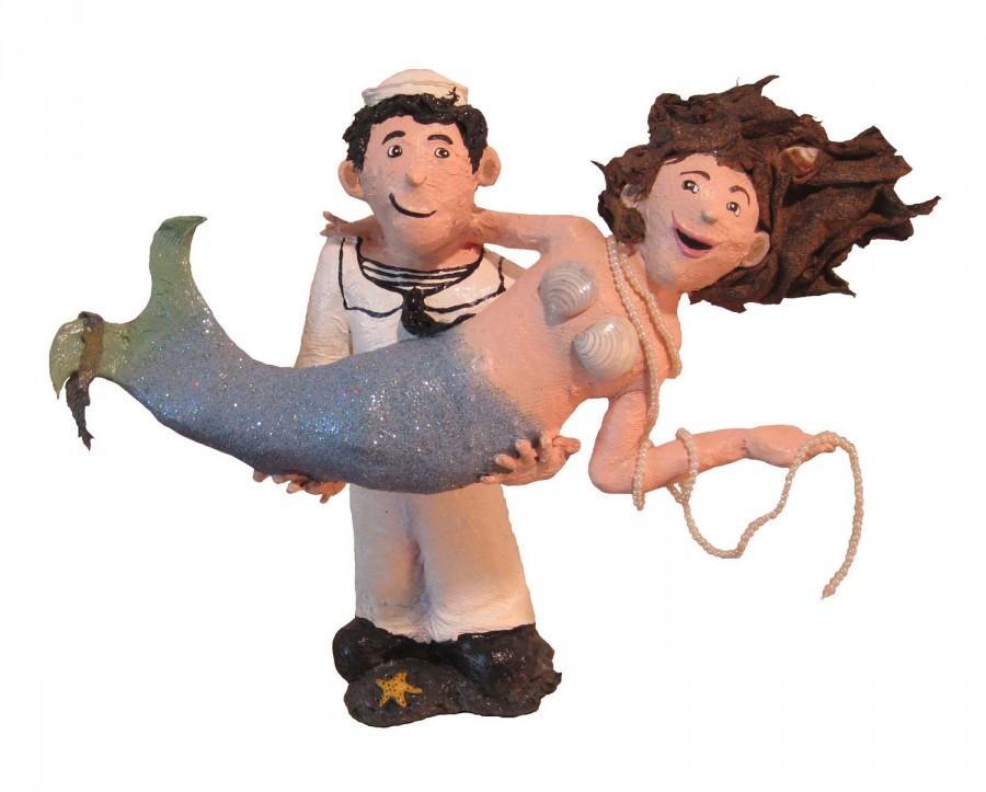 Mariage - Paper Mache Mermaid & Sailor Wedding Cake Topper - Sailor Mermaid Art Doll Paper Sculpture  - Made To Order