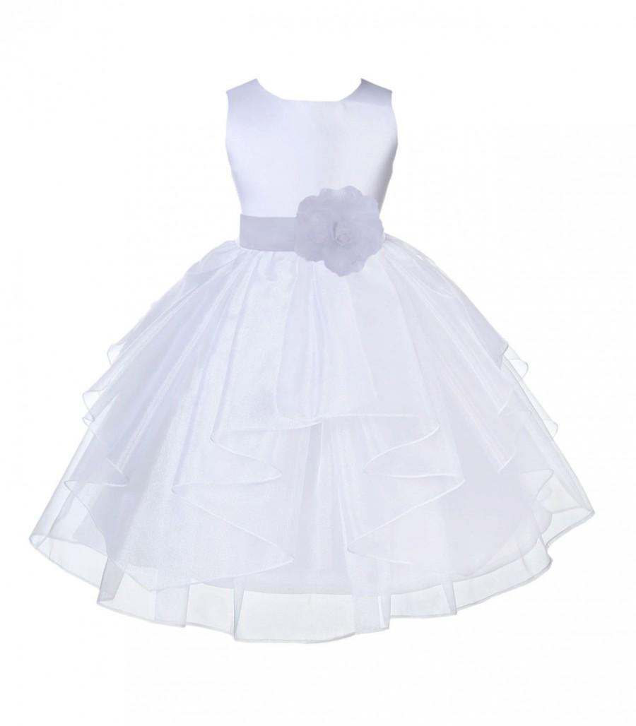 460c7fe649e White Organza Flower Girl Dress tie sash pageant wedding bridal recital  children tulle toddler sash sizes 6-9m 12-18m 2 4 6 8 10 12