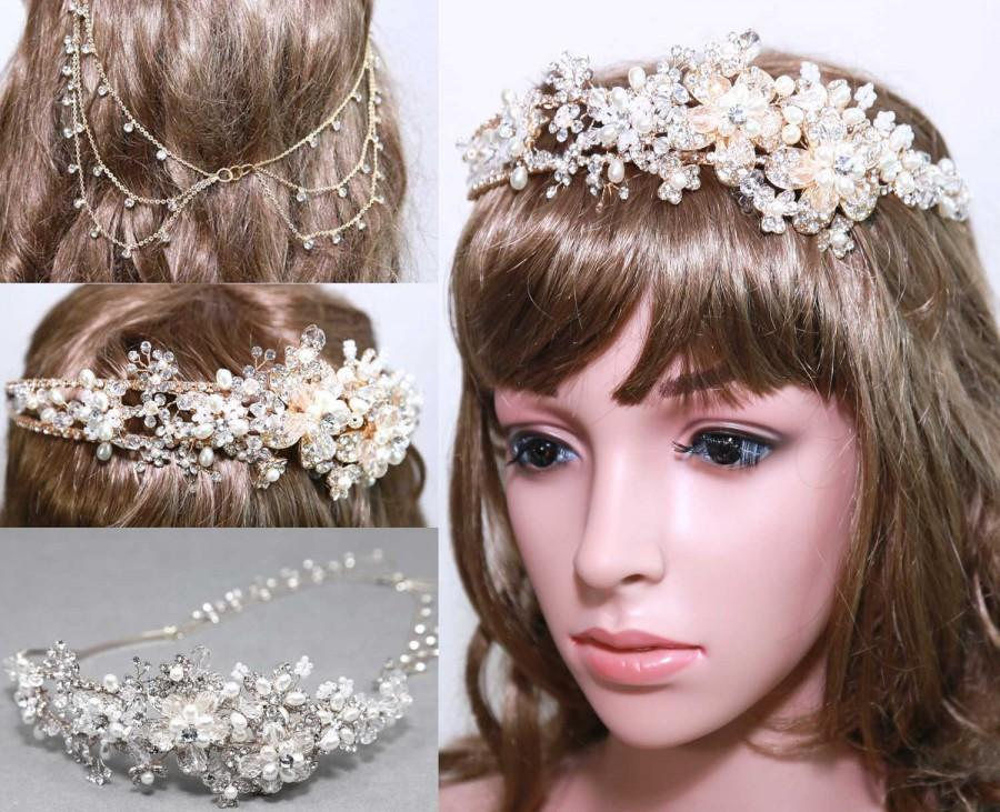 زفاف - Christmas Sales - Gold/Silver Tone Flowers Bridal Headband Tiara, Faux Pearl Rhinestone Crystal Wedding Crown Tiara, Flower Tiara Headband