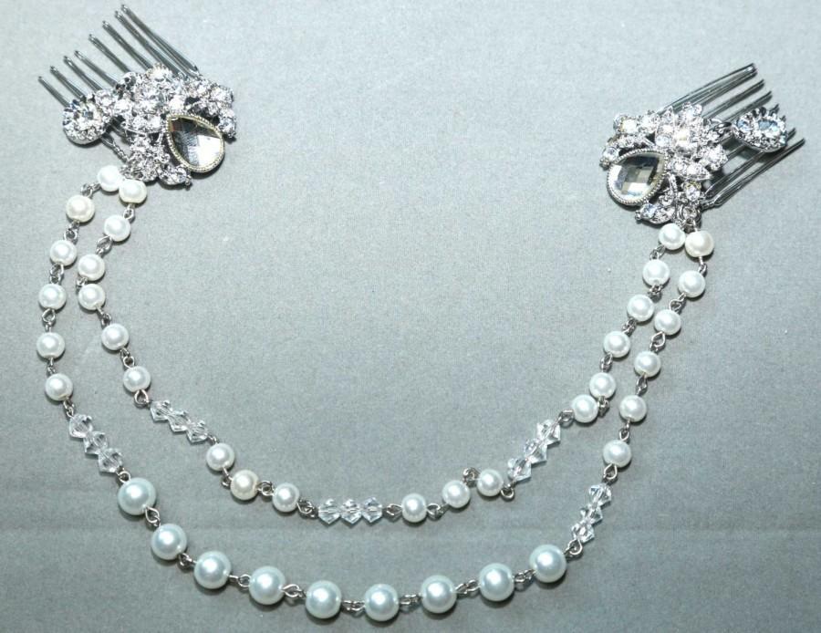 Pearl Chain Brooch Pearl Chain Hair Comb Bridal Crystal Comb Wedding