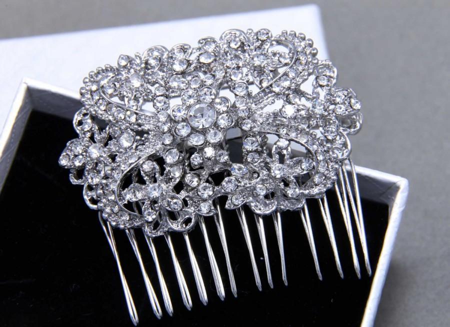 Mariage - Rhinestone Hair Comb, Bridal Crystal Headpiece, Rhinestone Comb,Statement Hair Comb, Art Nouveau Wedding, Hair Jewelry, Swarovski Headpiece