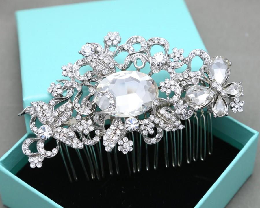 Mariage - Vintage Style Butterfly Flowers Leaves Bridal Wedding Hair Comb, Large Oval Rhinestone Crystals Hair Comb Alligator Headpiece Fascinator