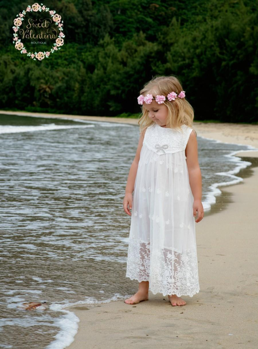 Flower girl dress girls lace dress rustic flower girl for Flower girl dress for beach wedding