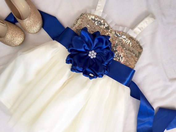 Mariage - Gold and ivory flower girl dress, Gold sequin and Royal blue flower girl dress, flower girl dress tulle, Royal blue flower girl dress