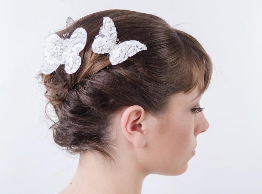 Mariage - White Lace Butterfly Hair Pins, Wedding Hair Accessories, Bridal Hair pins, Bridal Headpieces, set of three ( 3 )