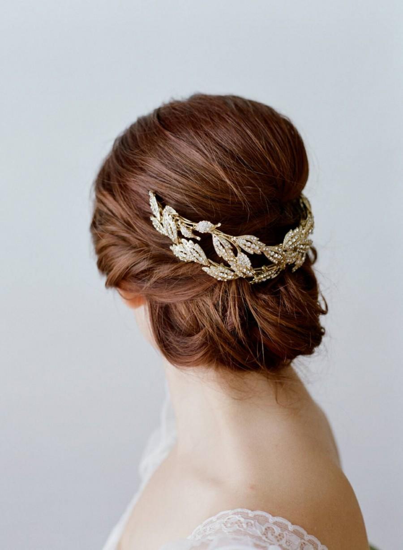 Свадьба - Bridal Leaf Crown -  ALESIA Gold Swarovski Crystal Leaf Tiara , Gold Leaves Bridal Headpiece, Gold Leaves Headpiece, Gold Lady Mary Tiara