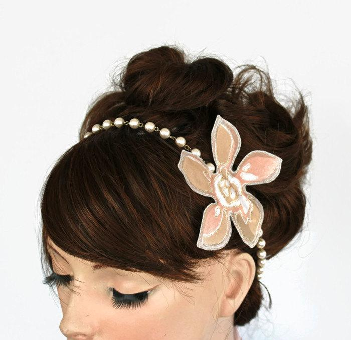 Свадьба - Blush Bridal Headband, Pink Pearl Bead Headpiece, Wedding Necklace, Modern Romantic Wedding Hair