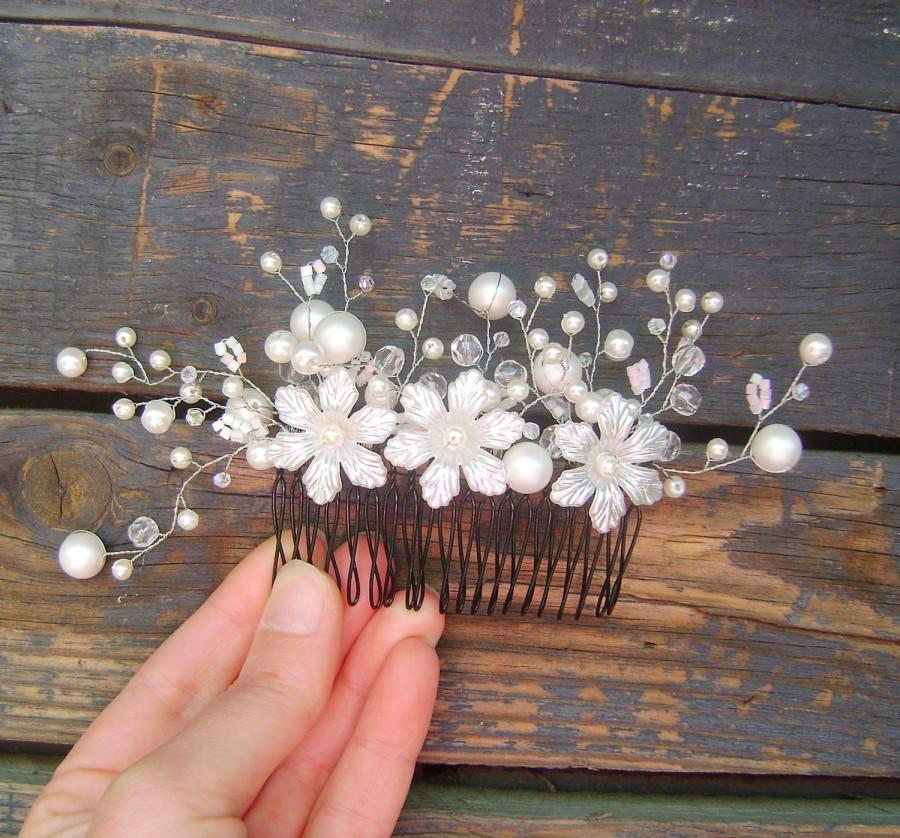 Wedding - Crystal Bridal Comb, Bridal White Silver Flowers hair comb, Wedding hair accessories, Bridal Headpieces, Floral comb bridal, Weddding Hair