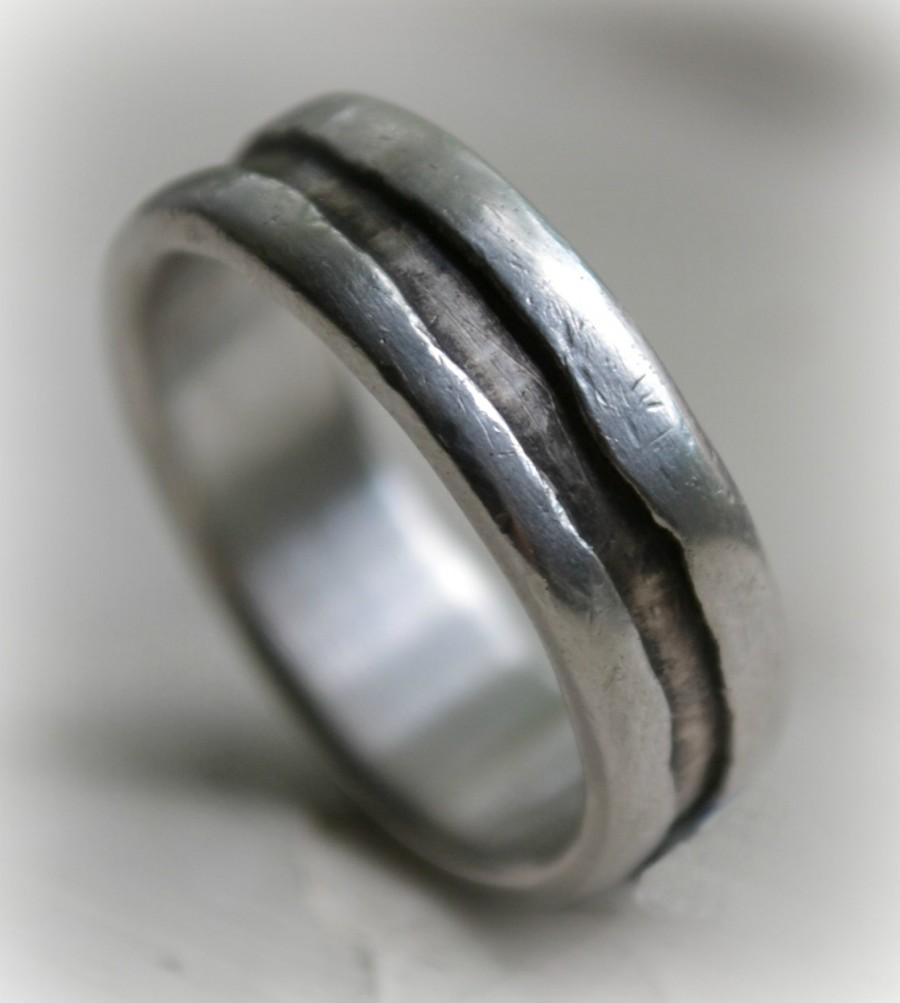 Hochzeit - industrial unisex wedding ring - handmade artisan designed oxidized fine silver and sterling ring - customized