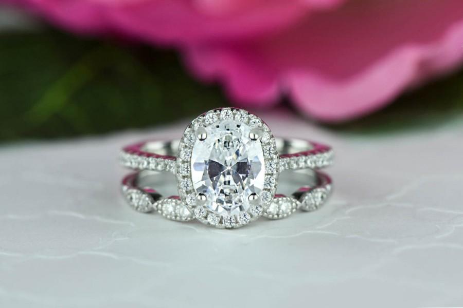 Mariage - 1.5 ctw Oval Halo Bridal Set, Art Deco Wedding Ring, Man Made Diamond Simulants, Half Eternity Ring, Halo Engagement Ring, Sterling Silver