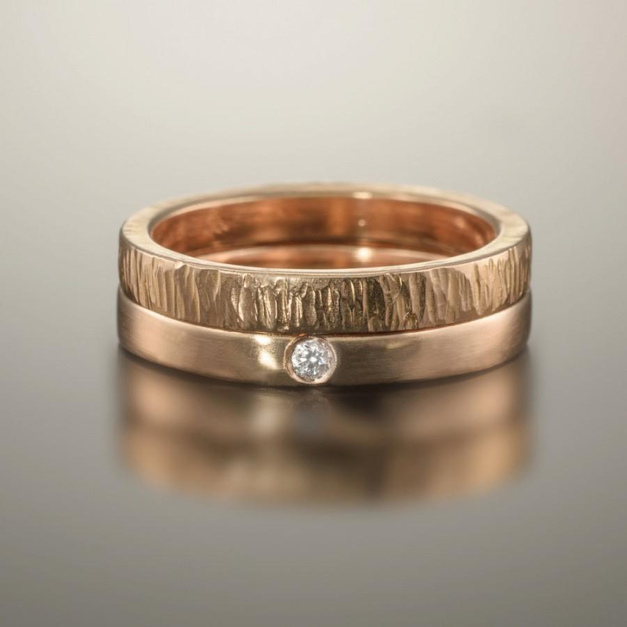 Good Gold Wedding Bands, Rose Gold Wedding Ring, Rose Gold Diamond Ring, Diamond  Wedding Bands, Diamond Ring Set, 14k 18k Simple Gold Bands