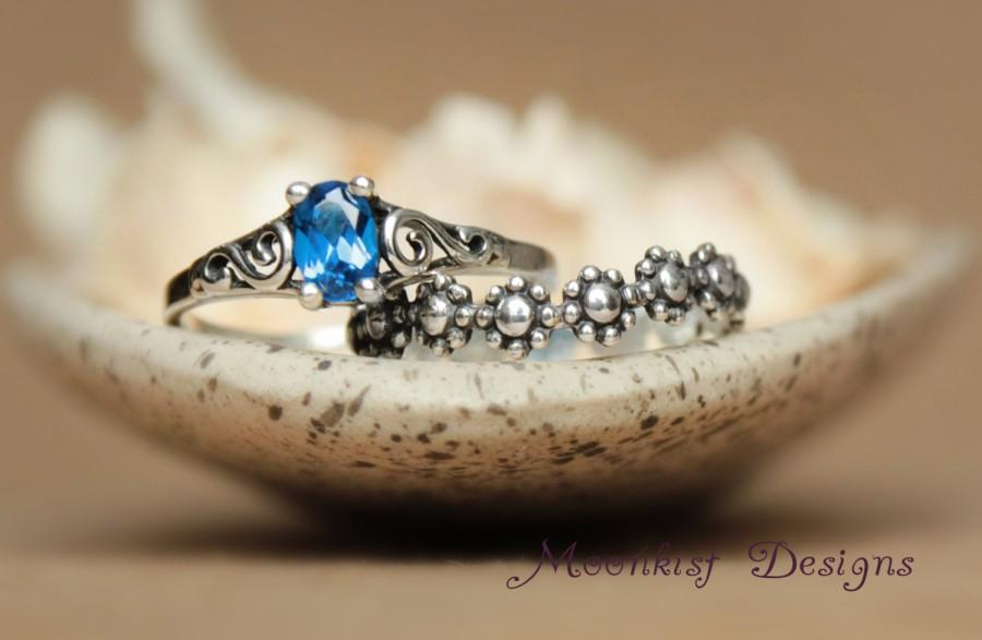 Wedding - Filigree Engagement Ring Set with Fitted Floral Wedding Band, Featuring Delicate Oval Sapphire in Sterling Silver - Daisy Wedding Band Set