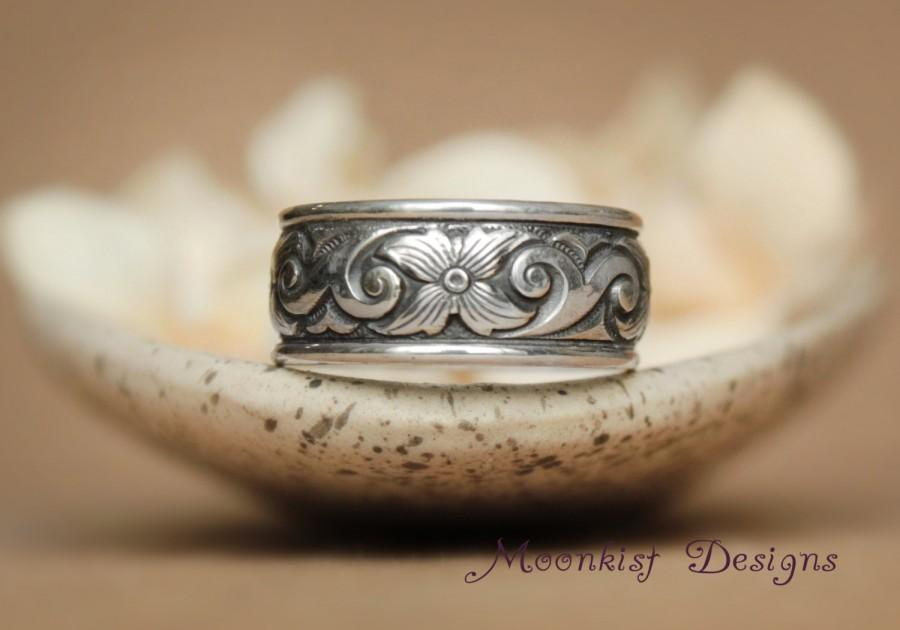 Wedding Wide Scroll And Starburst Flower Wedding Band With Sterling