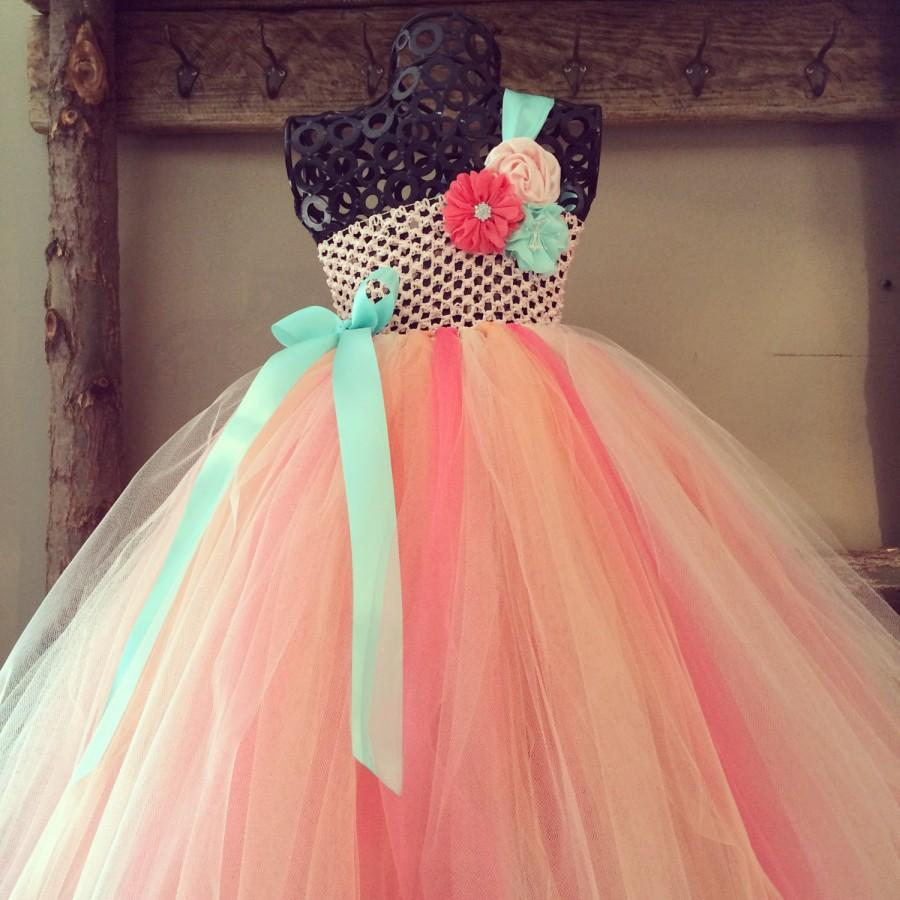 91c69dbca Peach, Coral and Aqua Flower Girl Tutu Dress/ Shabby Chic Wedding/ Spring  Wedding/ Country Wedding