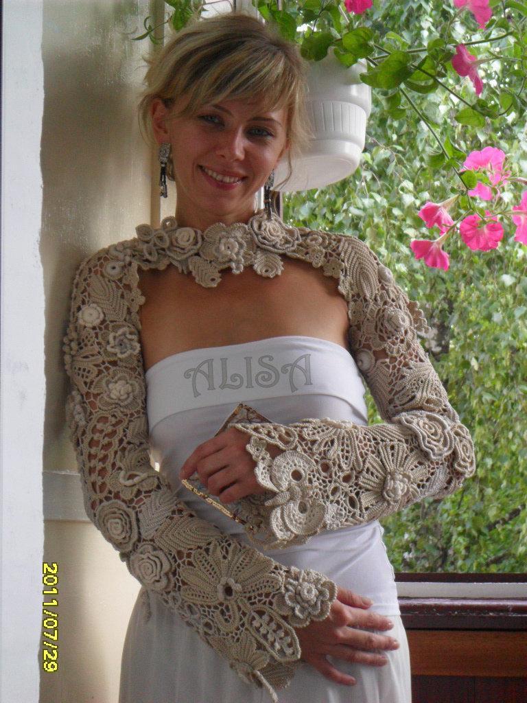 Wedding - Bridal bolero, Wedding bolero,shawl,shrug,Crochet Shawl,Irish crochet.