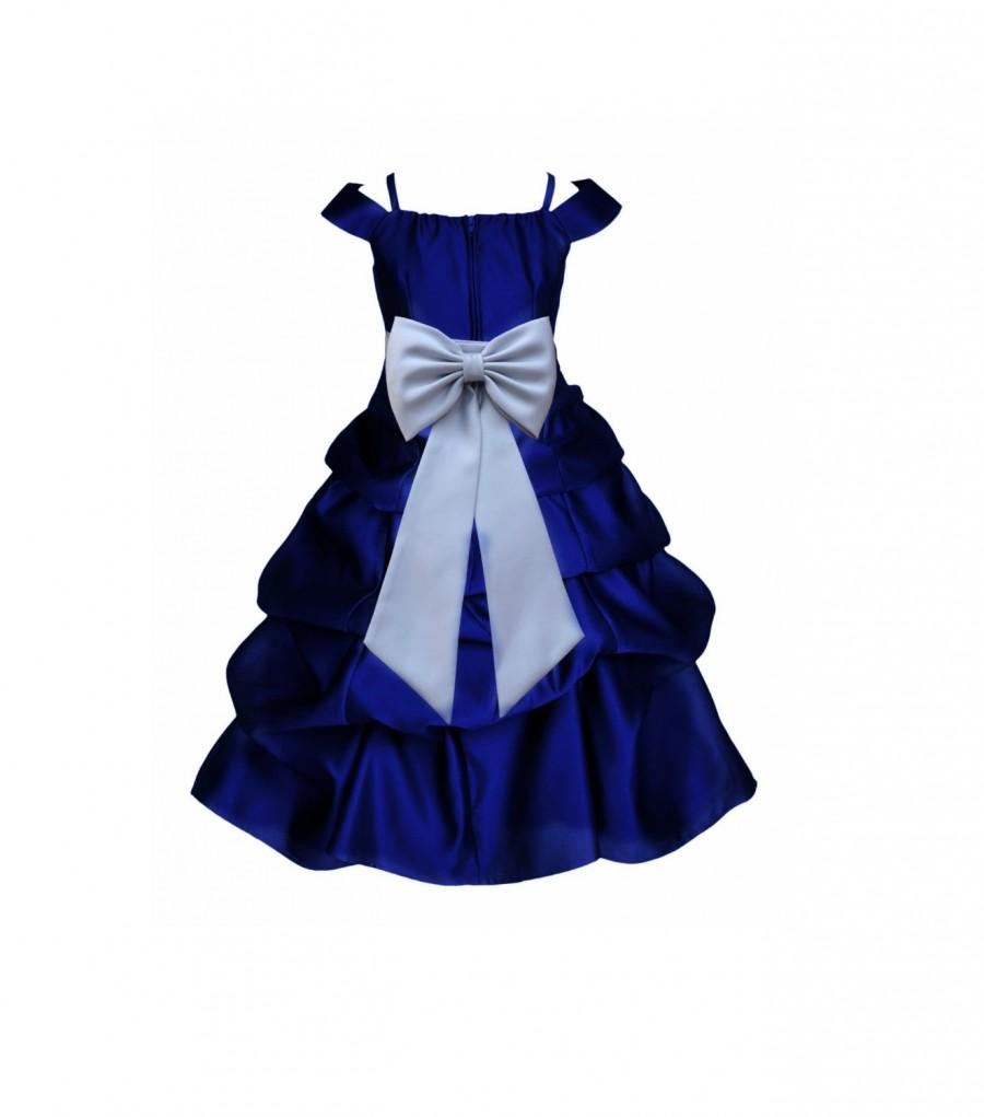 8778f4b8329b Navy Blue Flower Girl Dress Spaghetti Strap Cap Sleeve sash pageant wedding  bridal recital children toddler size 2 4 6 8 10 12 14 16