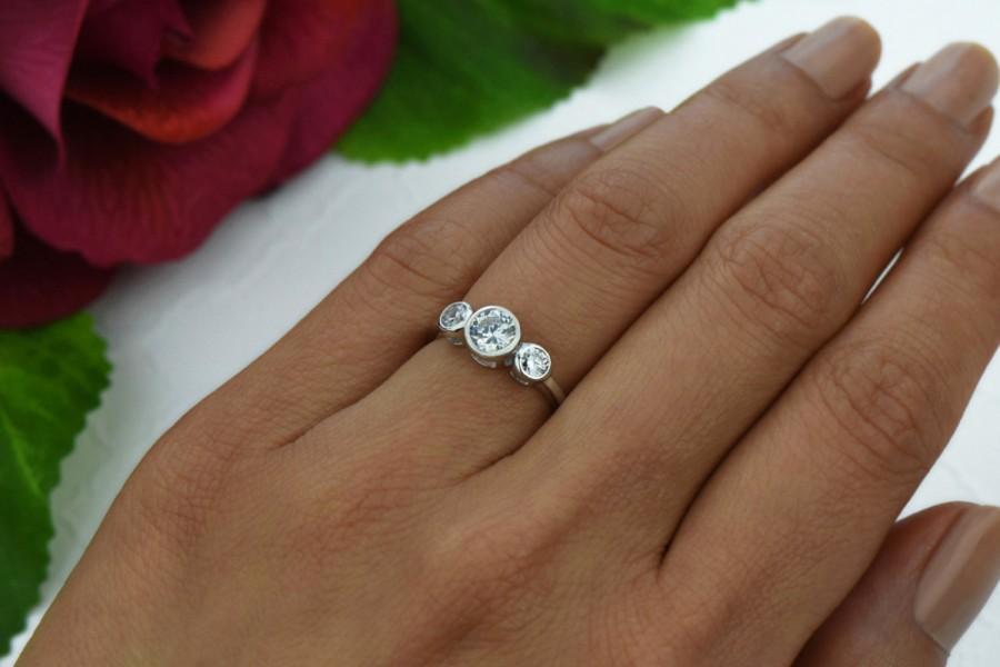 3 4 Ctw Bezel Set Ring Stone Style Engagement Man Made Diamond Simulant Wedding Bridal Promise Sterling Silver