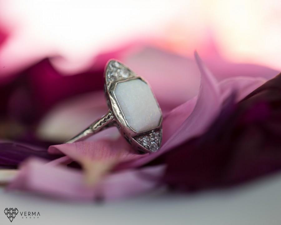 Hochzeit - Antique Opal & Diamond Engagement Ring Circa 1940s ATL #204