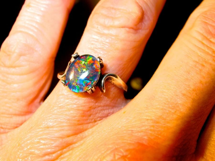Mariage - SHOP SPECIAL: Opal Engagement Ring. Natural Australian Opal ring. Choose your own opal from Video! 14K,10K Gold, or S.S. ITEM A-77