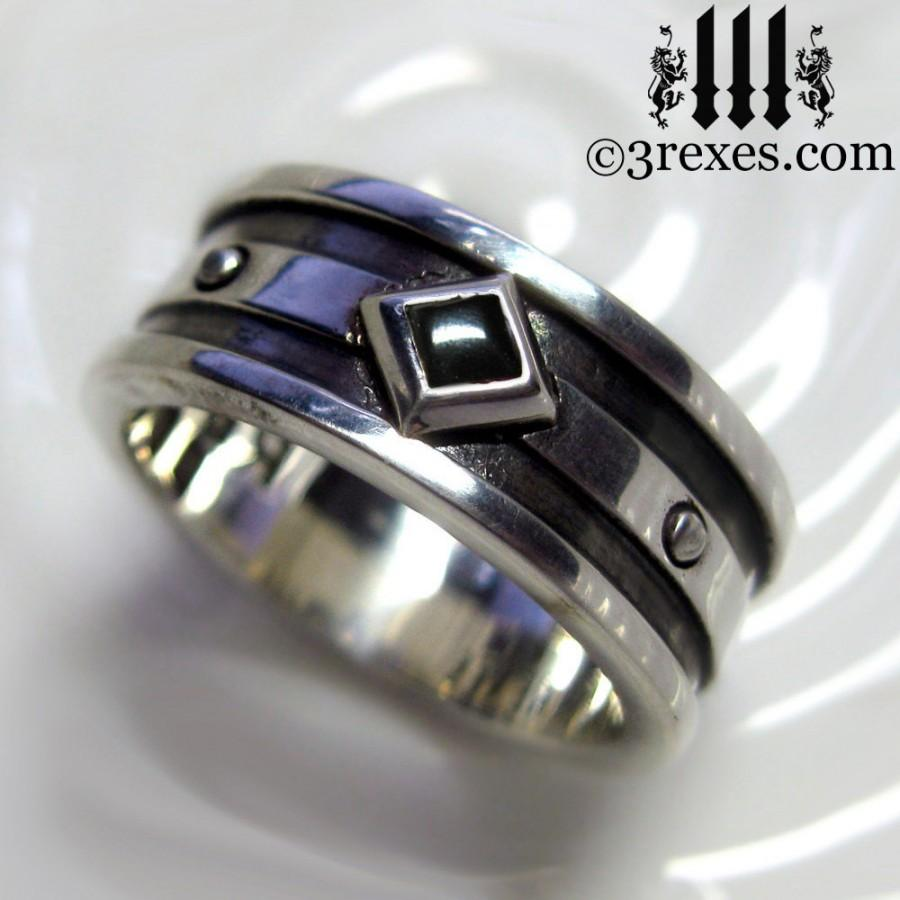 silver wedding ring black onyx mens engagement band moorish gothic one stone size 105 - Black Onyx Wedding Ring