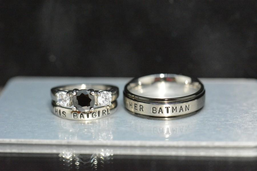Nickname Rings Comic Inspired Black Diamond CZ White CZStainless
