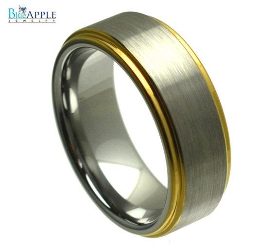 زفاف - 8mm Men's Tungsten Carbide Gold Plated Stepped Edge Wedding Engagement Band Ring