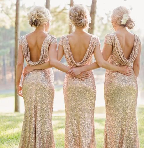 Hochzeit - Sparkly Rose Gold Mermaid Bridesmaid Dress