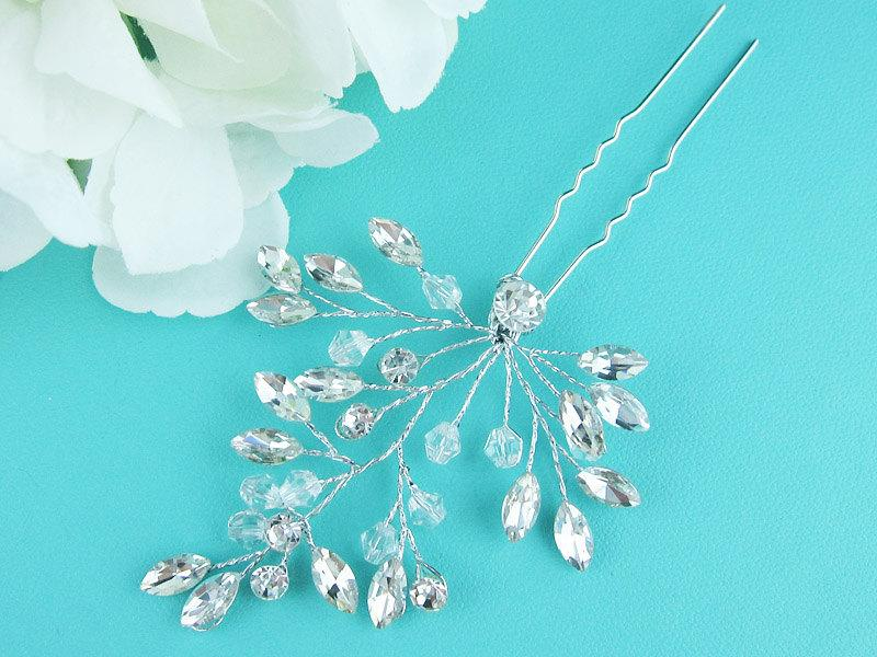 زفاف - Swarovski crystal vine wedding hair pin, bridal hair accessories, crystal rhinestone hairpin, bridal hair pearl, bridal hairpins, 210545018