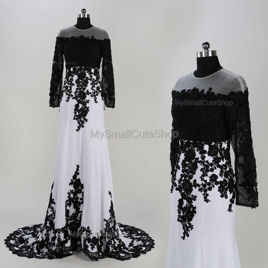 White And Black Prom Dresses,lace Applique