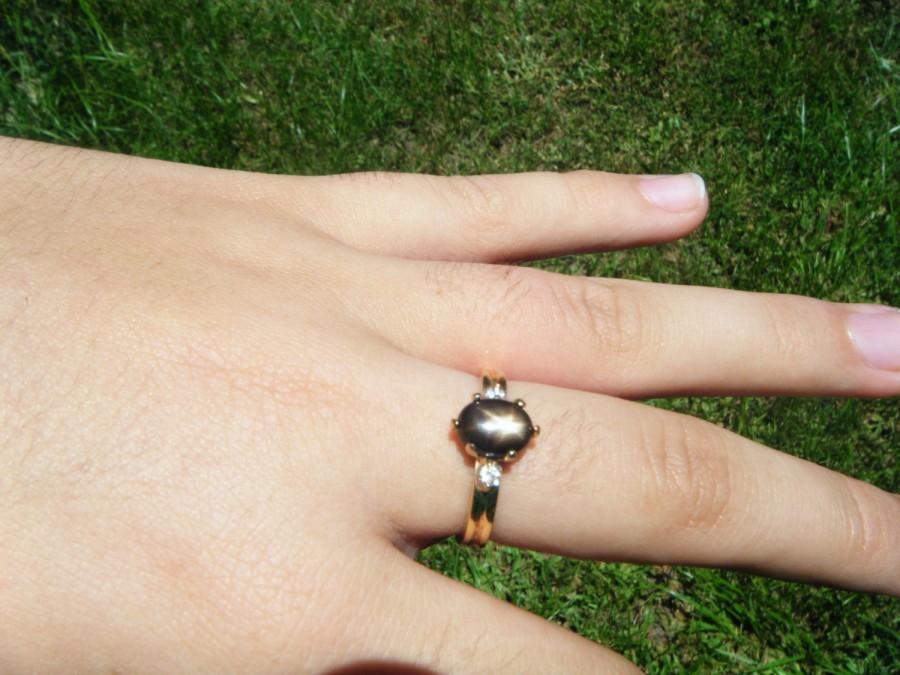 Mariage - Black star sapphire ring, bronze star sapphire, star sapphire and diamond ring, alternative engagement ring, natural sapphire and diamonds