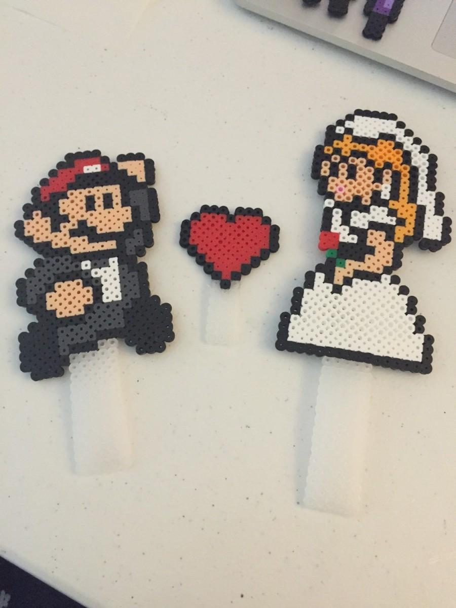 Свадьба - Mario and Princess Peach Wedding Cake Topper