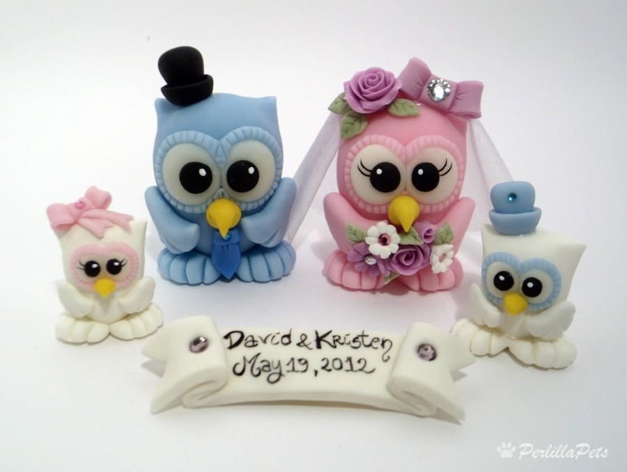 Wedding - Owl cake topper PerlillaPets with two baby owls and a banner, customizable