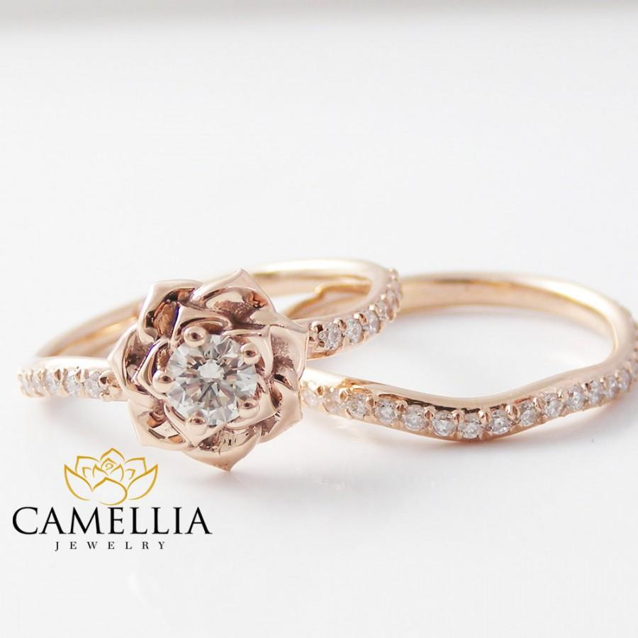 14k rose gold diamond engagement ring set rose gold flower ring flower engagement ring - Rose Gold Wedding Ring Set