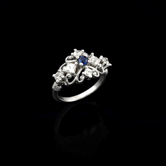 Wedding - Blue Sapphire Engagement Ring, Engagement Ring in 14K Gold with Your Birth Gemstone and Cubic Zirconia, Custom Birthstone Wedding Jewelry.