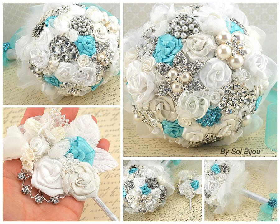 Brooch Bouquet Ivory Cream Aqua Blue Silver Turquoise White Elegant Wedding Vintage Style Bridal Jeweled Crystals Pearls Lace