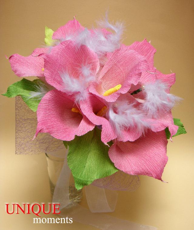 Wedding - Calla Lily Wedding Bouquet/Bride/Bridal Bouquet/Paper Wedding Bouquet/Wedding Decor/Wedding Centerpiece/Paper Calla Lily/Paper Flowers