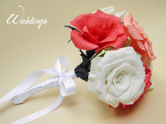Hochzeit - Wedding Bouquet/ Wedding Paper Flower Bouquet/ Bridal/ Wedding Decor/ Wedding Centerpiece/ Bride/ Paper Roses/ Bridal Bouquet