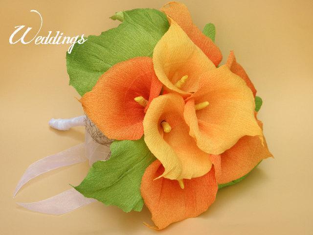 Hochzeit - Bridal Bouquet/ Wedding Calla Lily Flowers Bouquet/ Rustic Wedding/Wedding Decor/Wedding Centerpiece/Paper Calla Lily/PAPER Wedding Bouquet