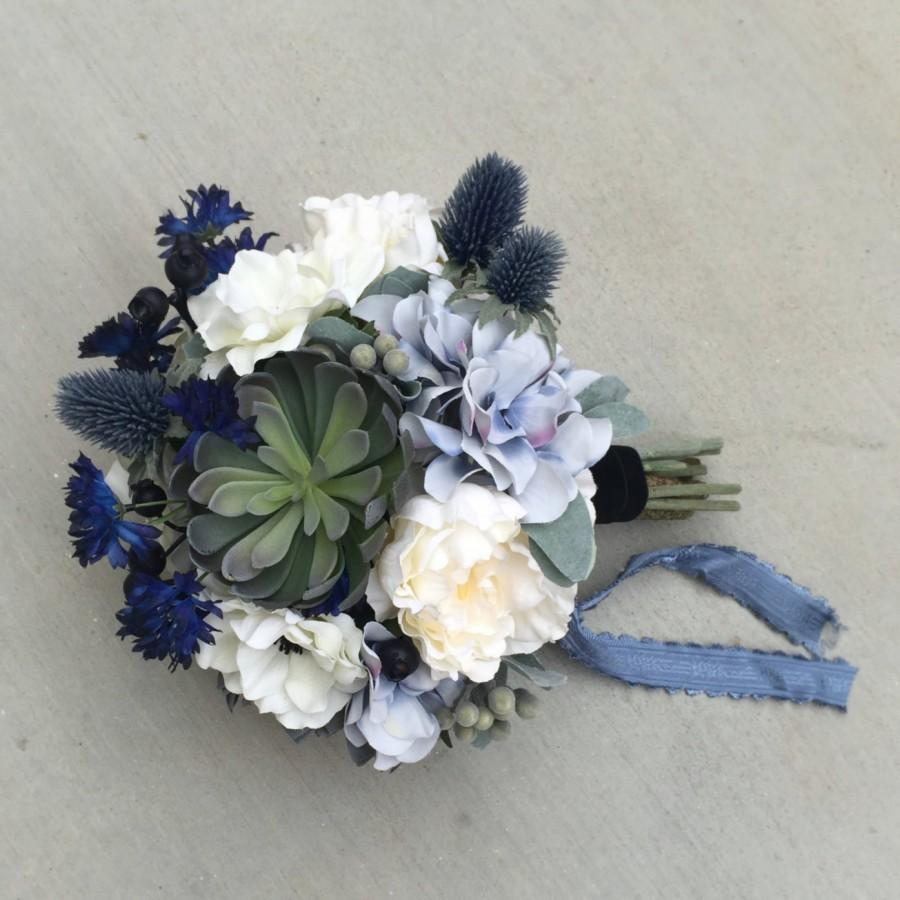 Hochzeit - Succulent Blue Silk Wedding Bouquet with Peony, Hydrangea, Cornflower, Anemone, Thistle, Echeveria, Blue Berries