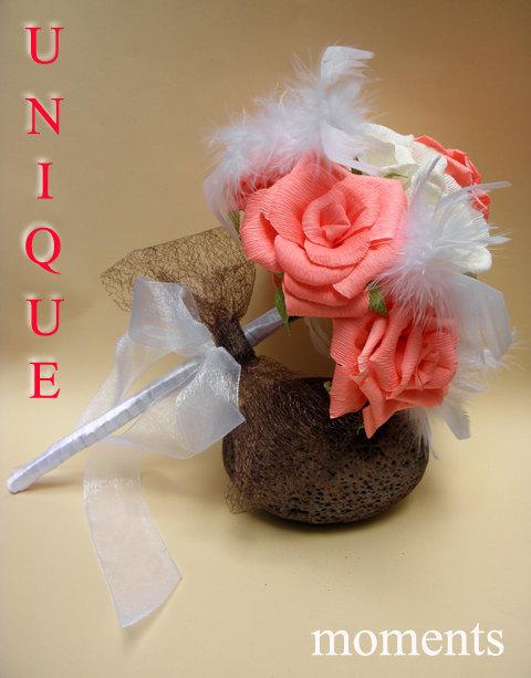 Hochzeit - Wedding Rose Bouquet/Bride Bouquet/ Bridal/ Bridesmaid/Wedding Decor/Wedding Centerpiece/Paper Roses Wedding Bouquet/Wedding Decoration
