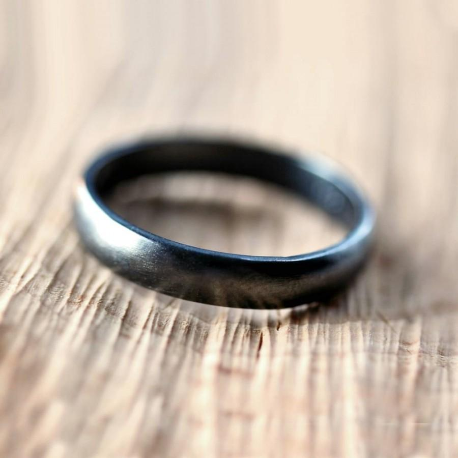 Black Silver Wedding Band Brushed Men s Women s Uni 4mm Low Do