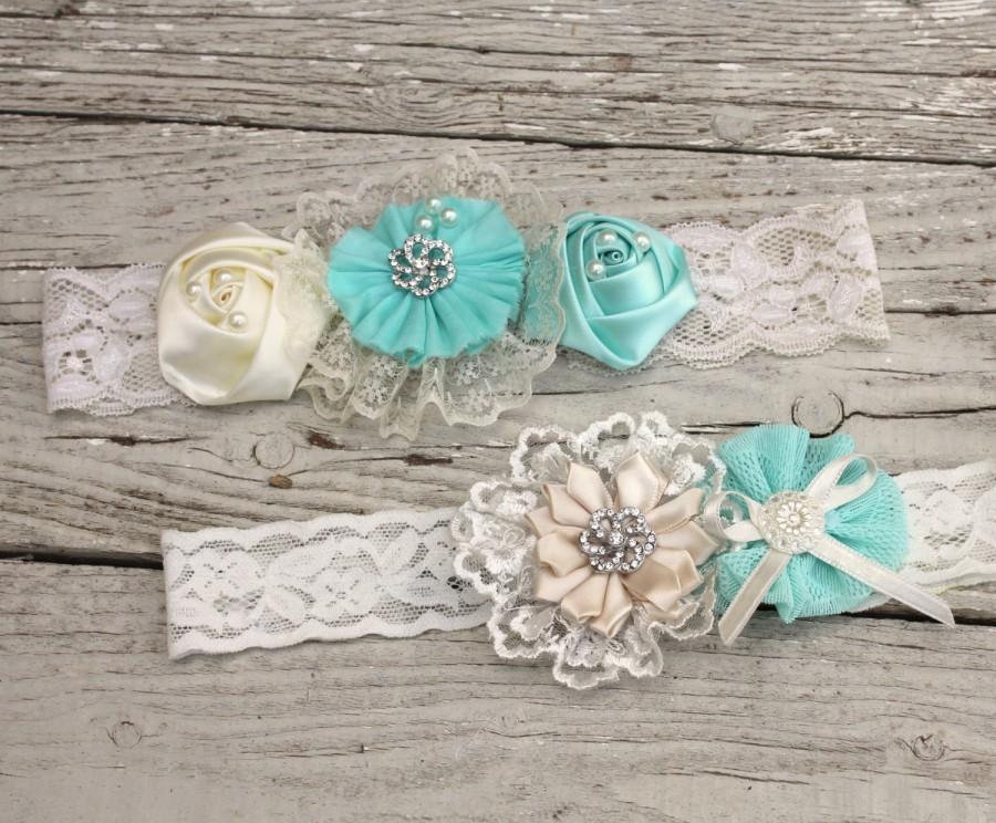 Hochzeit - Wedding Garter Set, Bridal Garter Set,Lace Garter something blue
