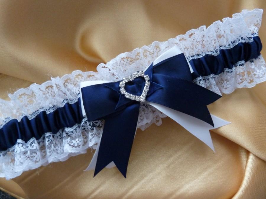 Hochzeit - WEDDING GARTER navy blue and white satin and lace garter heart diamante bows