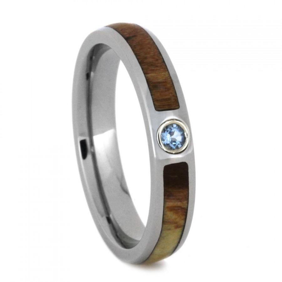 petrified wood fossil wedding ring titanium wedding ring opal engagement ring aquamarine titanium gift for him or her