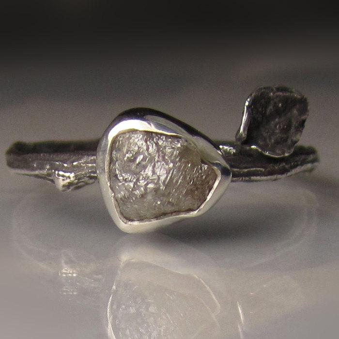 Mariage - Rough Diamond Twig Ring in Recycled Sterling Silver, Engagement Ring - Raw Diamond Ring - Uncut Conflict Free Diamond